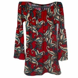 Win Win Bell Sleeve Patterned Tunic Red Size S/M